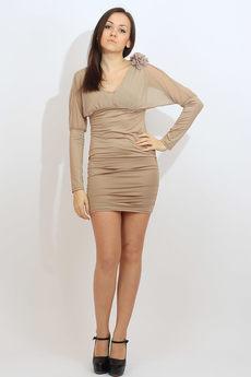 Коктейльное платье бежевого цвета Kokette