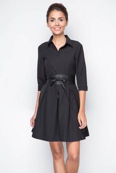 Строгое черное платье с поясом Marimay