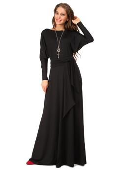 Черное длинное платье с поясом Mondigo