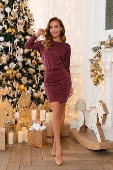 Теплое бордовое платье Open-Style