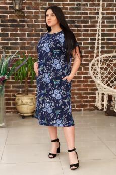 Темно-синее платье с голубыми розами ИвРосТекстиль